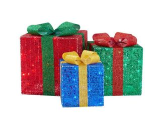 Home Accents Holiday 3 Piece Yuletide lane lED Gift Boxes