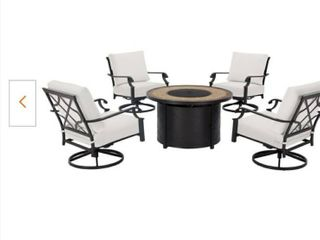 Hampton Bay Bow Ridge Steel 4pk Swivel Chair   Bare 1 of 2 boxes with Firepit 2 of 2 boxes