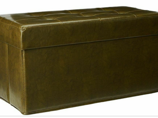 Faux leather Tufted Collapsible Bench w  Tray by Valerie   Olive Color