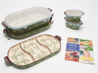 Temp tations Floral lace 6 Piece Baker Set with Cookbook Green
