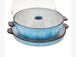 Temp tations light Blue Floral lace Fluted Tube Pan  Plastic lid CRACKED