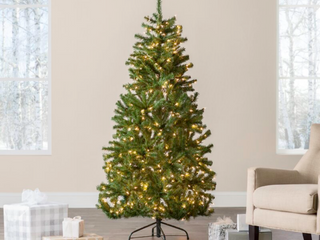 Norwood Fir Green Spruce Artificial Christmas Tree with White lights