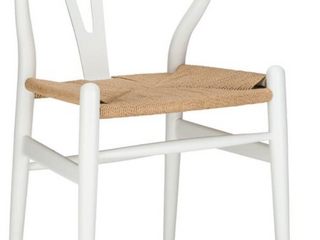 Set of 2   Poly and Bark Weave Chair   White