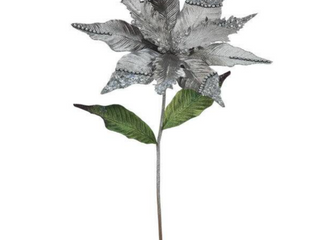 Set of 2   Vickerman 26 inch Pewter Poinsettia with 12 inch Flowers