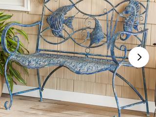 Zev Blue Fish Metal Garden Bench