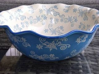 Temp tations Floral lace Ruffled Bowl with Serving Platter