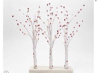 3 Piece Illuminated Birch Forest Centerpiece by Valerie   WHITE