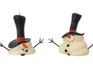 2 Piece Melting Snowman Unscented Novelty Candle Set