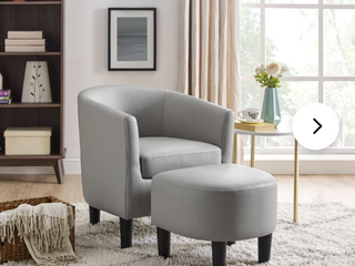 lucea 25 5  W Faux leather Barrel Chair and Ottoman   Grey
