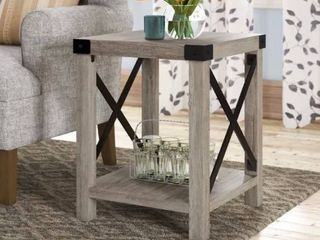 Arsenault End Table with Storage  Grey Wash