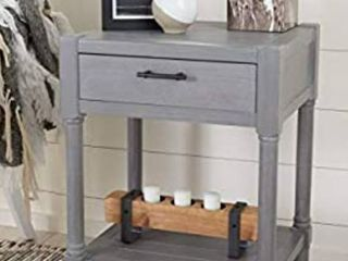 Safavieh Home Collection Filbert White Washed Grey 1 Drawer Bottom Shelf Accent Table ACC5711D  19  W x 15 8  l x 26  H