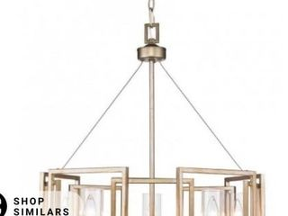 Marco White Gold 5 light Chandelier With Clear Glass Shade