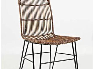 Janelle Slat Back Side Chair in Brown Set of 2
