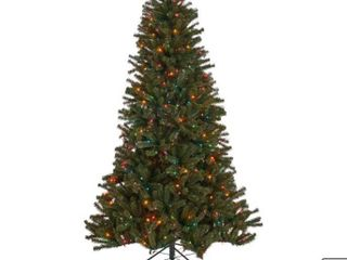Noble House 9 foot Noble Fir Pre lit Multi Colored String light Hinged Artificial Christmas Tree  Tested lights works