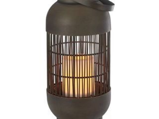 SET OF 2 Cylinder Basket Dark Brown Battery Powered lED Outdoor lantern with Electric Candle