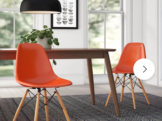 Avers Dining Chair Orange Seats with Natural Wood Dowel legs