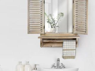 Villanueva Window Shutter Wall Mirror with Shelf and Towel Rod
