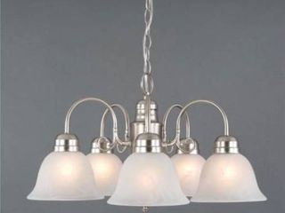 Manzanita 5 light Satin Nickel Hanging Chandelier with Frosted Marble Glass Shade