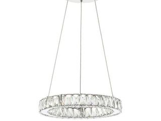 Reese 15 7  Integrated lED Metal Crystal Pendant  Chrome by JONATHAN Y