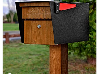 Mail Boss Curbside  Wood Grain 7510 Mail Manager locking Security Mailbox