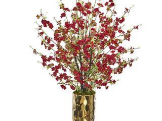 Artificial Cherry Blossom Floral Arrangement in Vase Gold