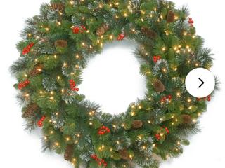 30  H x 30  W x 4  D Green Crestwood 36  lighted Wreath