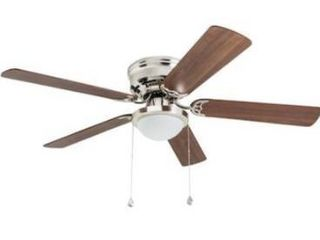 Harbor breeze 52 in brushed nickel lED indoor flush mount ceiling fan  5 blade