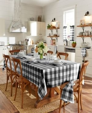 Elrene Farmhouse living Buffalo Check Tan White 52 x 52  Tablecloth