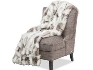 Michael Amini Bryant Gray Faux Fur Throw