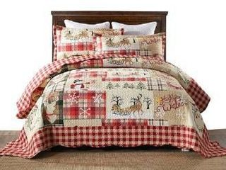 MarCielo 3 Piece Christmas Quilt Set  King
