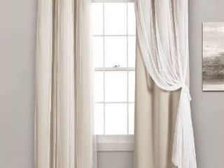 lush Decor Sheer Grommet Panel with Insulated Blackout lining  Room Darkening Window Curtain Set  Pair  38x108 Wheat