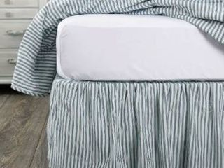 April   Olive Sawyer Mill Stripe Ticking Stripe King Bed Skirt