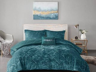 Full Queen Alyssa Velvet Comforter Set Teal