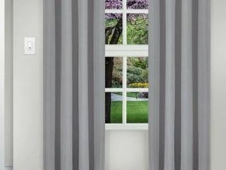 108 Inches   CHROME  Superior Solid Insulated Thermal Blackout Grommet Curtain Panel Pair