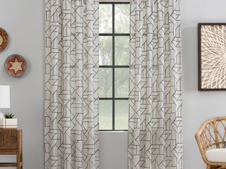 84 x50  Jigsaw Embroidery linen Blend light Filtering Curtain Panel