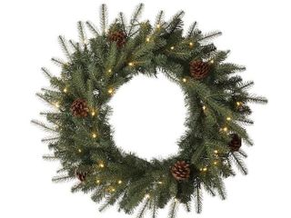 Glitzhome 24 inch Christmas wreath with pinecones and 35 warm white lED lights
