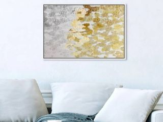 Oliver Gal Abstract Wall Art Framed Canvas Prints  Gold vs Platinum  Paint   Gold  Gray   24 x 16   White