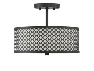 2 light Matte Black Semi Flush Ceiling light  Missing patterned surround   shade has dents