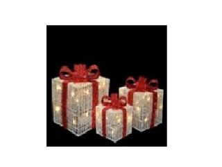 Outdoor lighted Christmas Decoration  Pre lit White Thread Gift Box Assortment  Tested  lights work