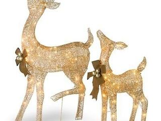 National Tree Company Fawn And Doe Decoration With Clear lights  Tested  works