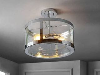 JONATHAN Y Herndon 2 light 15  Iron Glass Modern lED Flush Mount   Chrome Clear