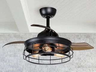 Industrial 36 inch Black 3 blade Ceiling Fan with light Kit   36 in