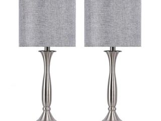 25 5 in  Brushed Nickel Table lamps with USB Port in Base and Grey linen Shades  2 Pack  by GRANDVIEW GAllERY