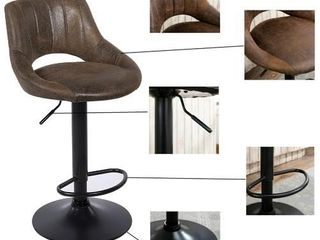 Art leon Art leon Modern Adjustable 360 Swivel Barstools with Retro PU leather  Set of 2