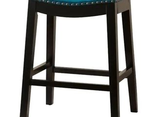 Teal  Copper Grove Divjake 26 in  Bonded leather Saddle Counter Stool Retail 125 46