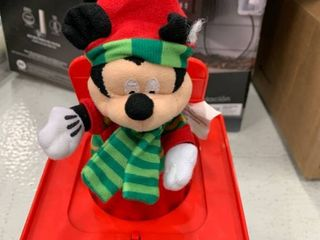 Gemmy Disney Mickey Mouse Santa Christmas Jack in the box Deck The Halls Music