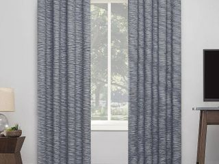 96 x50  Kamali Textured Striped Thermal Extreme Blackout Grommet Top Curtain Panel Navy   Sun Zero
