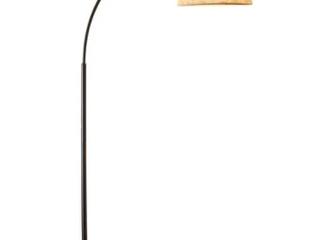 Carson Carrington Ylserod Burlap   Antique Bronze Arc Floor lamp   Retail 77 48