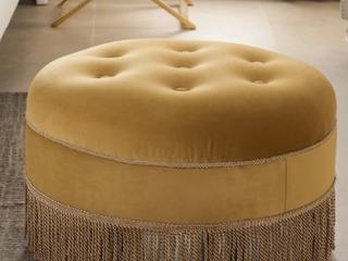 Yolanda Tufted Velvet Decorative Round Ottoman