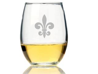Fleur De lis Stemless Wine Glasses   Set of 4